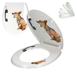 WC-Sitz mit Absenkautomatik Hund mit Telefon