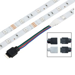 ECD Germany 5050 LED Bande aux lumières LED à Ruban SMD 2x5m 10m 30 LED/m + Source d'alimentation 2A + télécommande 24 touches