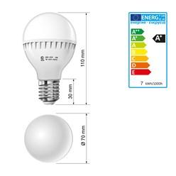 LED-Birne E27, Kaltweiß, 7W