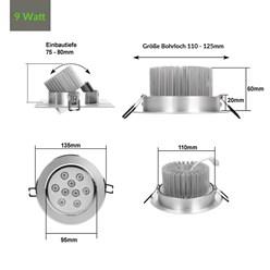 ECD Germany 1 x 9W 220-240V 14 x 14 cm LED Spot lampe 643 lumens blanc chaud 3000K spot carré