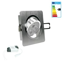 ECD Germany 1 x 3W 220-240 9,2 x 9,2 cm Spot encastrable LED environ 245 lumens Blanc froid 6000K spot carré