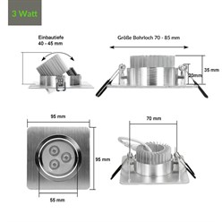 LED Einbauspot 3 Watt Ausf. COB Aluminium schwenkbar dimmbar Kaltweiß