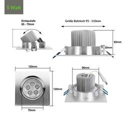 LED-Einbaustrahler 5W, Kaltweiß, Eckig
