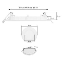 LED-Panel Einbaustrahler 9W, Kaltweiß, Rund