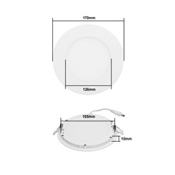 LED-Panel Einbaustrahler 12W, Kaltweiß, Rund