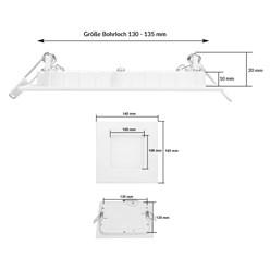 LED-Panel Einbaustrahler 9W, Kaltweiß, Eckig