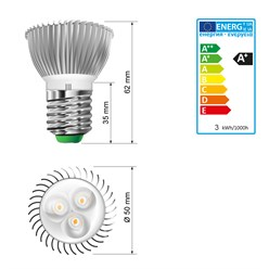 ECD Germany LED E27 SMD Ampoule Spot Lampe Blanc Froid 3W