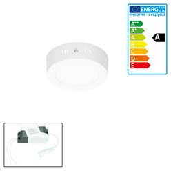 ECD Germany Plafonnier LED 12W AC 220-240 V 663 lumens Ø 170 mm angulaire de 160 ° IP53 blanc chaud