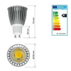 ECD Germany LED COB GU10 Spot Lampe Ampoule 9W Blanc Chaud