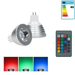 LED RGB Spot MR16 3W dimmbar mit IR-Fernbedienung 24 Tasten