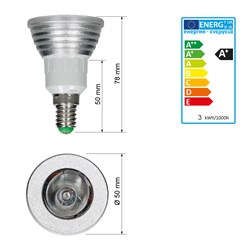LED-Spot E14, RGB, 3W mit Fernbedienung