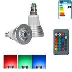 1 x LED-Spot RGB E14 3W + LED-338