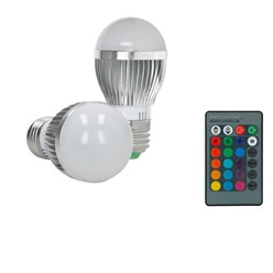 1 x LED-Birne RGB E27 3W + LED-338