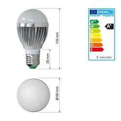 LED-Birne E27, RGB, 5W mit Fernbedienung