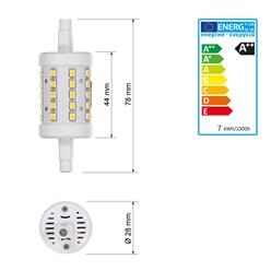LED Stablampe R7s - 78 mm 7 Watt rund kaltweiß