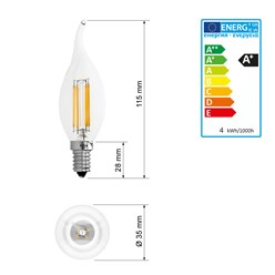 10 x LED Lampe Windstoß Kerze Filament E14 4W Warmweiß