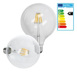 LED-Lampe Birne groß Filament E27 8W 125mm Warmweiß