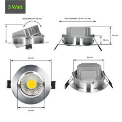 ECD Germany 1 x LED Spot COB 3W 180 Lumens aluminium argent angle d'environ 30 ° - 60 ° AC 220-240 reste caché et remplace 15W ampoule de plafond 6000K blanc froid