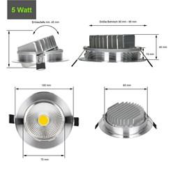 LED Reflektor-Einbauspot 5 Watt Ausf. COB Aluminium schwenkbar warmweiß