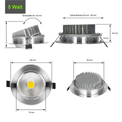 LED Reflektor-Einbauspot 5 Watt Ausf. COB Aluminium schwenkbar neutralweiß