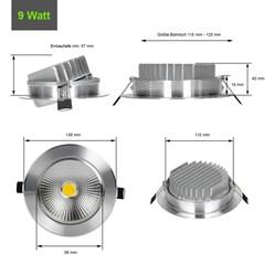 ECD Germany 1 x LED Spot COB 9W 638 Lumens Aluminium Argent angle d'environ 30 ° - 60 ° AC 220-240 reste caché et remplace 60W Ampoule de plafond encastré 2800K blanc chaud