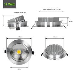 ECD Germany 1 x LED Spot COB 12W 1043 Lumens Aluminium Argent angle d'environ 30 ° - 60 ° AC 220-240 reste caché et remplace 75W Ampoule de plafond encastré 4000K blanc neutre
