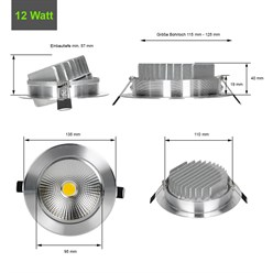 LED Reflektor-Einbauspot 12 Watt Ausf. COB Aluminium schwenkbar neutralweiß