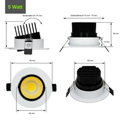 LED-Einbaustrahler COB Aluminium Weiß 5W WW