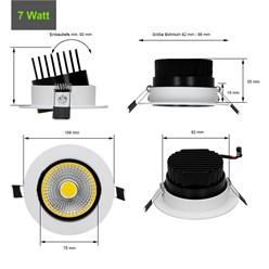 LED-Einbaustrahler COB Aluminium Weiß 7W NW