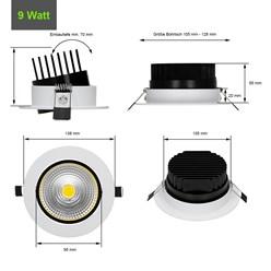 LED Reflektor-Einbauspot 9 Watt Ausf. COB Aluminium weiß schwenkbar kaltweiß