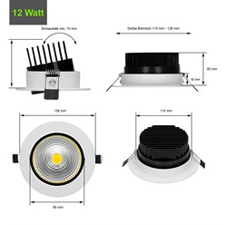 LED Reflektor-Einbauspot 12 Watt Ausf. COB Aluminium weiß schwenkbar warmweiß
