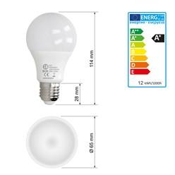 LED-Birne E27, Kaltweiß, 12W
