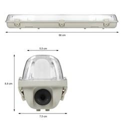 LED-Feuchtraumleuchte 60 cm, wasserfest, geeignet für LED T8