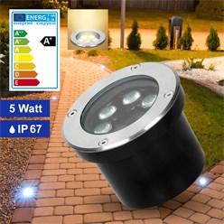 LED Bodeneinbaustrahler 5W Warmweiß 3000K 230V rund Edelstahl IP67
