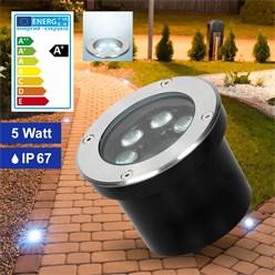 LED Bodeneinbaustrahler 5W Kaltweiß 6500K 230V rund Edelstahl IP67