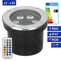 5W LED Bodeneinbaustrahler rund RGBW