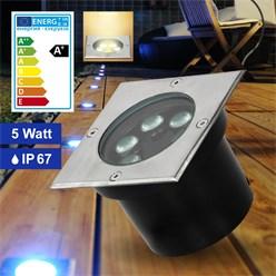 LED Bodeneinbaustrahler 5W Warmweiß 3000K 230V eckig Edelstahl IP67