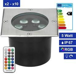 5W LED Bodeneinbaustrahler eckig RGBW