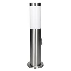 Außenlampe 45 cm mit 1 Steckdose, IP44, E27 Fassung, aus Edelstahl