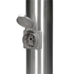 Außenlampe 111 cm mit 2 Steckdosen, IP44, E27 Fassung, aus Edelstahl