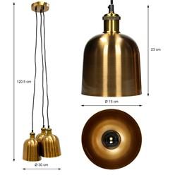 Hängelampe 120,5 cm aus Metall cm E27 3 flammig