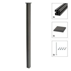 ML-Design WPC Sichtschutzzaun Komplett Set, grau, 185x185x175 cm