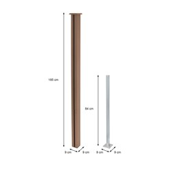 ML-Design WPC Sichtschutzzaun Komplett Set, braun, 185x185x175 cm
