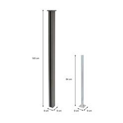 ML-Design WPC Pfosten für Sichtschutzzaun, grau, 9x9x185 cm