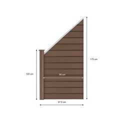ML-Design WPC Schrägelement aus 13 Paneele für Sichtschutzzaun, braun, 97.5x105-175x1.9 cm