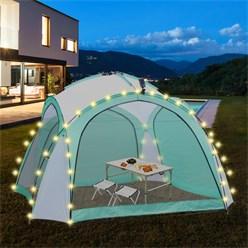 ML-Design LED Event Pavillon weiß/grün, 3.5x3.5x2.3 m, inkl. Beleuchtung mit Solarmodul und Fernbedienung