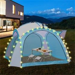 ML-Design LED Event Pavillon weiß/blau, 3.5x3.5x2.3 m, inkl. Beleuchtung mit Solarmodul und Fernbedienung