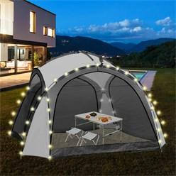 ML-Design LED Event Pavillon weiß/grau, 3.5x3.5x2.3 m, inkl. Beleuchtung mit Solarmodul und Fernbedienung
