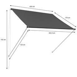 ML-Design Markise anthrazit, 400x120 cm, aus Metall und Polyester