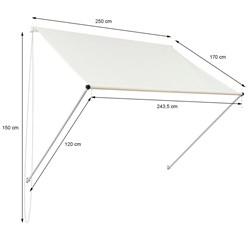ML-Design Markise beige, 250x120 cm, aus Metall und Polyester